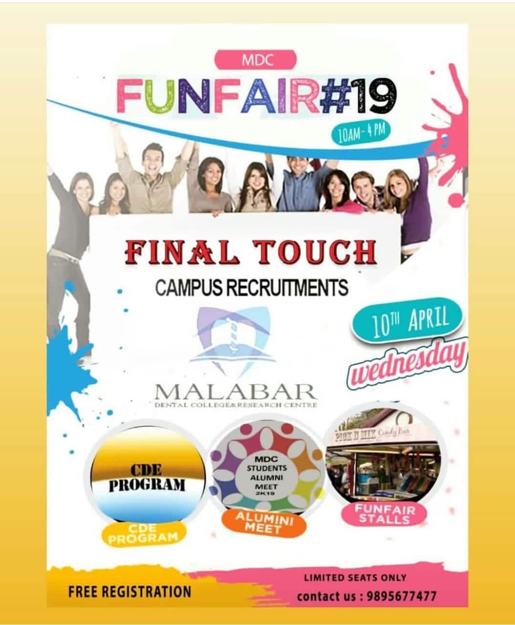 FUNFAIR#19 ON 10th April  FINAL TOUCH Campus RECRUITMENTS, CDE PROGRAM, ALUMNI MEET, FUNFAIR STALL