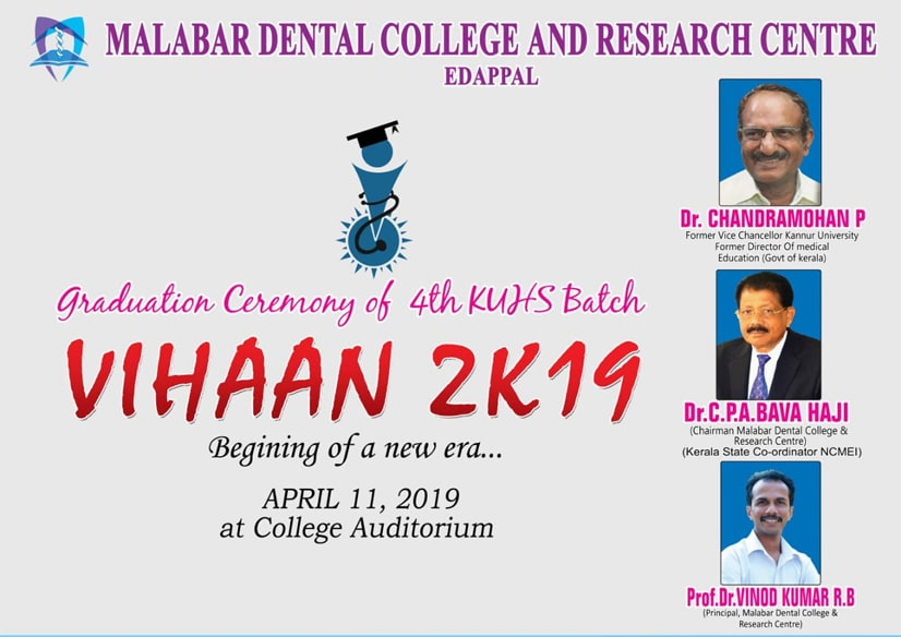 Graduation ceremony of 4th KUHS batch 'VIHAAN 2K19' 11th APRIL 2019